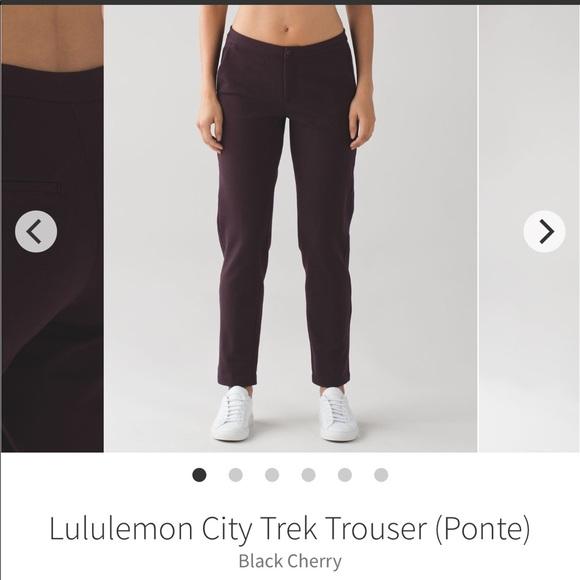 1613da3423 lululemon athletica Pants - Lululemon City Trek Trouser in Black Cherry